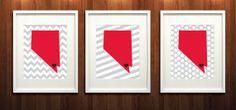 Las Vegas, Nevada State Set of Three Giclée Prints - 8x10 - Grey and Scarlet University Print. UNLV. Rebels. $37 on Etsy.