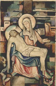 Stefán Henrik: Piéta - üvegfestmény terv, akvarell, papír, 1926 körül