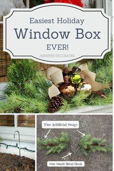 Easiest Christmas Window Box Idea Ever! from Jennifer Decorates.com