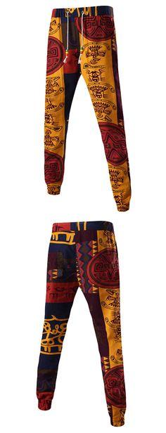 $8.44 Totem Print Mid-Rise Linen Drawstring Jogger Pants
