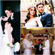 Supernatural cast members Weddings Collage-- Meanwhile, Misha :D
