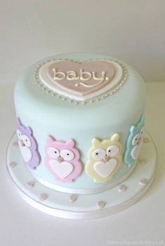Mint Cake with Pastel Heart-Shaped Owls