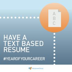 The pros of having a text based resume while job hunting. #YearOfYourCareer