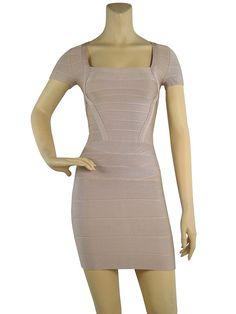 Herve Leger Short Sleeve Square Neck Bandage Nude Dress