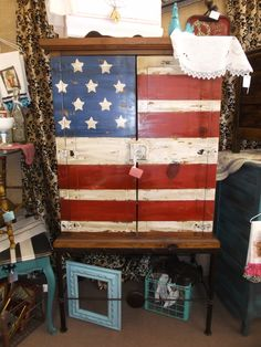 SOLD - Rustic Pine Patriotic Armoire - Painted in a flag theme, distressed and finished in a dark was. A charming addition to any room - ***** In Booth D8 at Main Street Antique Mall 7260 E Main St (east of Power RD on MAIN STREET) Mesa Az 85207 **** Open 7 days a week 10:00AM-5:30PM **** Call for more information 480 924 1122 **** We Accept cash, debit, VISA, MasterCard or Discover.
