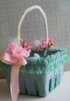 Pale Aqua Blue Easter Basket with Crepe Paper Ruffles and Vintage Pink Trims