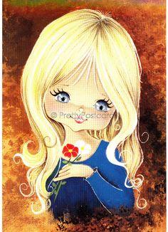 Vintage Postcard of a Big Eyed Blond Girl, via Flickr.