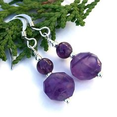 Amethyst Handmade Earrings Purple Sterling Silver Gemstone OOAK Beaded   ShadowDogDesigns - Jewelry on ArtFire