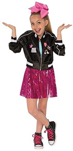 Your little girl will squeal with excitement when you bring home this JoJo Siwa Halloween costume. This costume includes a Bomber Jacket and pink sparkly tutu skirt....