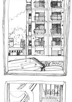 'Urban memory' by Federica Benvenuto. Urban memory is a pen on paper artwork in A6 dimension. The sketch was made on September 9th, 2016 and it represents the evereyday urban view I used to see during my childhood in my hometown.