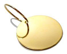 Pingente Folheado a Ouro - Medalha Redonda - Vários Tamanhos - Gravação Nome e Telefone