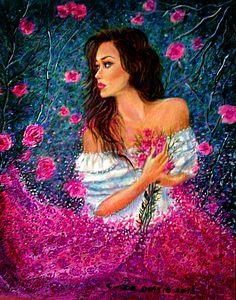 petali  di  rose 40x50  olio  su  tela