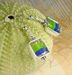 Image of  Cobalt Blue And Lime Green Sea Glass Earrings Sterling Silver Squares