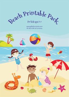 Beach Printable Pack with 49 beach printables for ages 2-7 focused on skills such as shapes, sizes, colors, same vs. different, puzzles, mazes, fine motor, math, and literacy. #freeprintables #educationalprintables || Gift of Curiosity