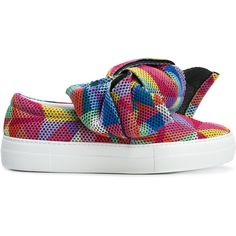Joshua Sanders bow slip-on sneakers ($358) ❤ liked on Polyvore featuring shoes, sneakers, slip on shoes, leather slip-on shoes, leather trainers, pull-on sneakers and leather shoes