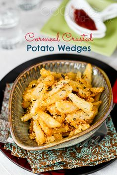 Cooking With Siri: {Simple and Easy Appetizers} Cornmeal Crusted Potato Wedges Recipe