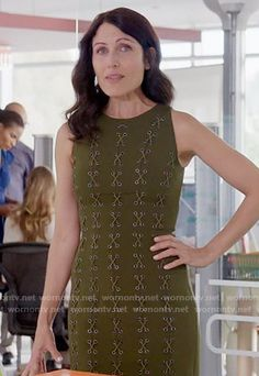 Abby's olive green lace up dress on Girlfriends Guide to Divorce. Outfit Details: https://wornontv.net/55743/ #GG2D