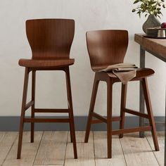 Crest Bentwood Bar + Counter Stools | West Elm - Nice warm, wood contrast could be nice