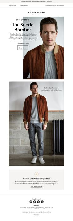 Frank & Oak - All Suede Baby email newsletter emailing