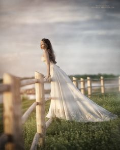 Magical! Not that anyone actually hangs out in a field by a fence in a dress like this, but it does look gorgeous.