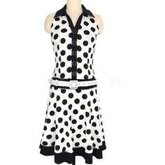 White Pretty Womens Polka Dot Printed Sleeveless Skater Dress ($31) ❤ liked on Polyvore