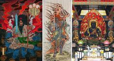 "On the left, Aikido Founder Morihei Ueshiba's guardian, Susanoo-No-Mikoto. """"Aikido is the work of Ame no Murakumo Kuki Samuhara Ryuou. Kuki is a double-edged sword which cuts through and unites the appearances of the Great Spirit of the Earth and Heaven. That is, it is a two-edged sword of Heaven and Earth.""...""Ame no Murakumo is the divine sword of Susanoo. One's entire body is said to be Susanoo."". More: http://www.aikidosangenkai.org/blog/three-doka-aiki-o-kami/"