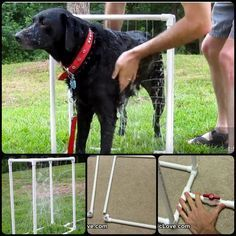 Custom #Dog Washer out of PVC pipes--- This will give you a cube-shaped dog wash that can stand on its own so you can have both hands on your dog all the time during the bath #doghacks