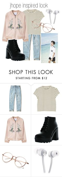 """""""jhope inspired look"""" by cherryblossomqueen ❤ liked on Polyvore featuring Hollister Co., Monki, MANGO, Bamboo and KitSound"""