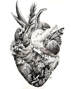 Wild at Heart — A Million Tiny Lines tattoos Wild at Heart — A Million Tiny Lines Symbol Tattoos, Body Art Tattoos, New Tattoos, Sleeve Tattoos, Tatoos, Ocean Tattoos, Arm Tattoo, Coeur Tattoo, Petit Tattoo