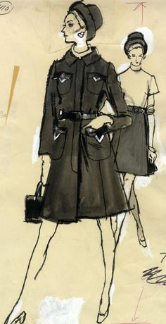 Fashion illustration by Fred Greenhill, 1960-74, Two women wearing coats.