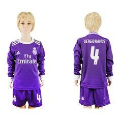 Real Madrid Fotbollskläder Barn 16-17 #Sergio Ramos 4 Bortatröja Långärmad,275,98KR,shirtshopservice@gmail.com