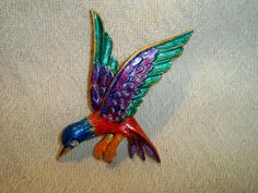Vintage Art Hummingbird Brooch Hand Painted Rhinestonemy mom loved humming birds, I would have bought this for her!