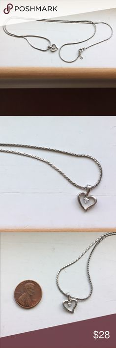 """🌷silver heart necklace Darling and dainty, sterling silver, measures 12"""" down Jewelry Necklaces"""