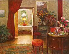 Interior With Decorated Table Artwork By Olga Wisinger-florian Oil Painting & Art Prints On Canvas For Sale Klimt, Flower Power, Watercolor Illustration, Canvas Art Prints, Lovers Art, Landscape Paintings, Art Nouveau, Gallery, Artwork
