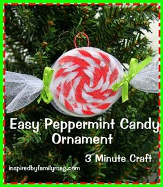 Christmas Ornament Craft: Easy Peppermint Candy- {using recycled items} My husband used this to make with 20 of his students