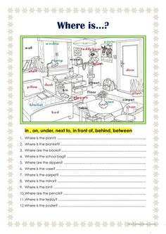 Where is. worksheet - Free ESL printable worksheets made by teachers English Prepositions, English Grammar Worksheets, Grammar Lessons, English Vocabulary, Grammar Rules, Spanish Grammar, Grammar Activities, English Activities, Listening Activities