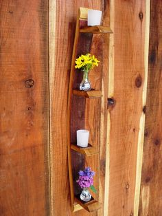 Wine Barrel Candle / Vase Holder  made from Napa Wine Barrels -100% Recycled. $50.00, via Etsy.