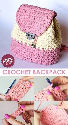 / Backpack / Rucksack - crochet tutorial Learn how to make this backpack with pink and yellow t-shirt yarn.Learn how to make this backpack with pink and yellow t-shirt yarn. Crochet Backpack Pattern, Free Crochet Bag, Crochet Crafts, Crochet Yarn, Crochet Stitches, Diy Crafts, Crochet Handbags, Crochet Purses, Crochet Designs