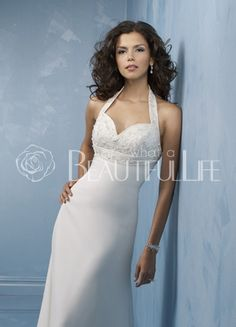$405.99  Halter Sweetheart Satin Chiffon A-Line Wedding Dress With Embroidery#halter#wedding#gown