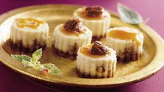 Enjoy these delicious cheesecake bites drizzled with caramel topping that are perfect dessert to serve a group.