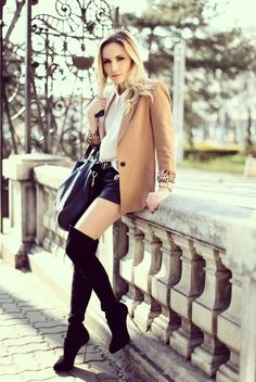 Shop this look on Kaleidoscope (blazer, shorts, boots)  http://kalei.do/WkKruiESuvhbRzbL