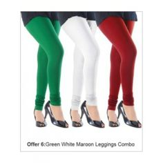 Green, White & Red Woman's Cotton Leggings ( Pack of 3 )  Type Leggings Washcare Wash with Care Color Green, white & Red Material Viscose, cotton Gender Women Product Weight (g) 250