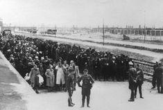 Neu angekommene Häftlinge müssen auf der Todesrampe von Auschwitz Aufstellung nehmen - links Frauen und Kinder, rechts Männer. Datum und Fotograf dieser Aufnahme sind unbekannt.