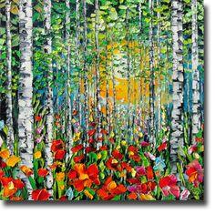 Birch Tree Painting Aspen Birch Woods Modern ART Palette by bsasik, $598.00