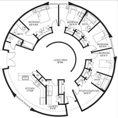 Circular floor plan. Totally awesome, but definitely BIGGER bedrooms pleassseee!!