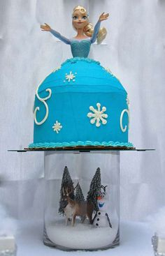 """Disney's """"Frozen"""" Birthday Party cake!  See more party planning ideas at CatchMyParty.com!"""