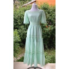1970s Mint Green Handmade Gauze Lace Medieval Renaissance Princess... (85 AUD) ❤ liked on Polyvore featuring costumes