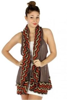 Taupe Simple Chevron Border Crochet Knit Vest or Shawl