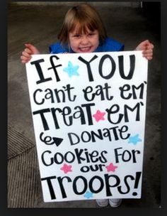 great way to support our troops, teach the girls about helping others and boost cookie sales.  haven't checked to see if the link gives details on how to send donated cookies to troops but shouldn't be too hard to figure out.