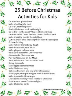 25 Days of Christmas Activities for the Entire Family | Christmas ...